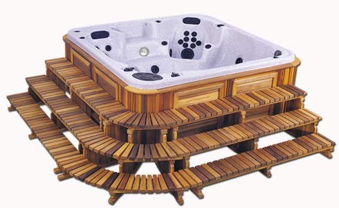 the 3 Tier Hot Tub Stair Package next to a hot tub